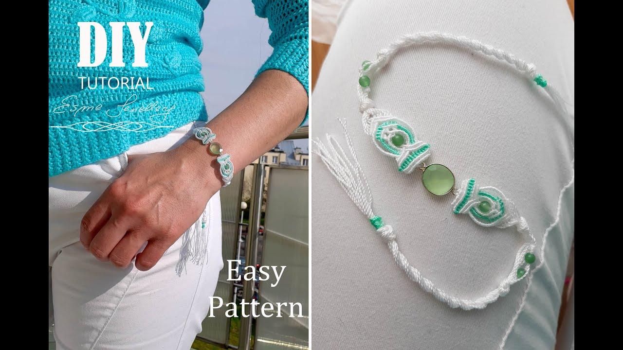 Macramé bracelet DIY White& Mint. Makramowa bransoletka Biel i Mięta.Tutorial