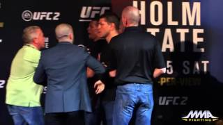 UFC 196  Conor McGregor, Nate Diaz Almost Scuffle After Staredown