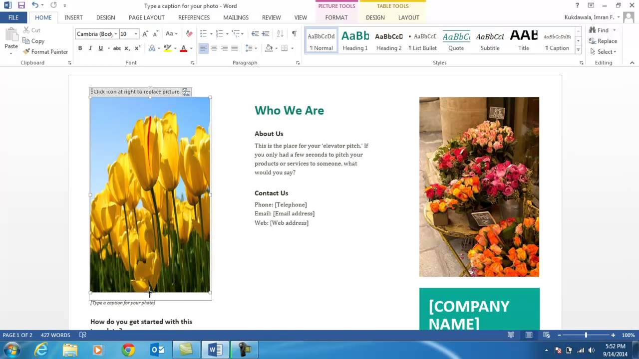creating a brochure in word 2013