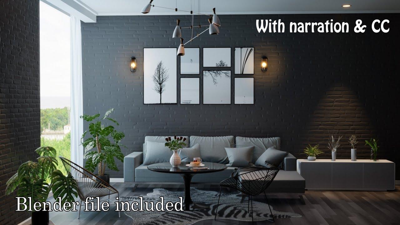 Blender 2 80 Tutorial : Eevee Interior #2 Black Living Room