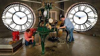 tick-tock-the-old-red-tower-clock-is-set-forward-for-daylight-saving-time