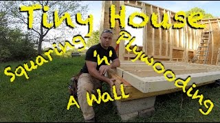 tiny house squaring and plywooding a wall
