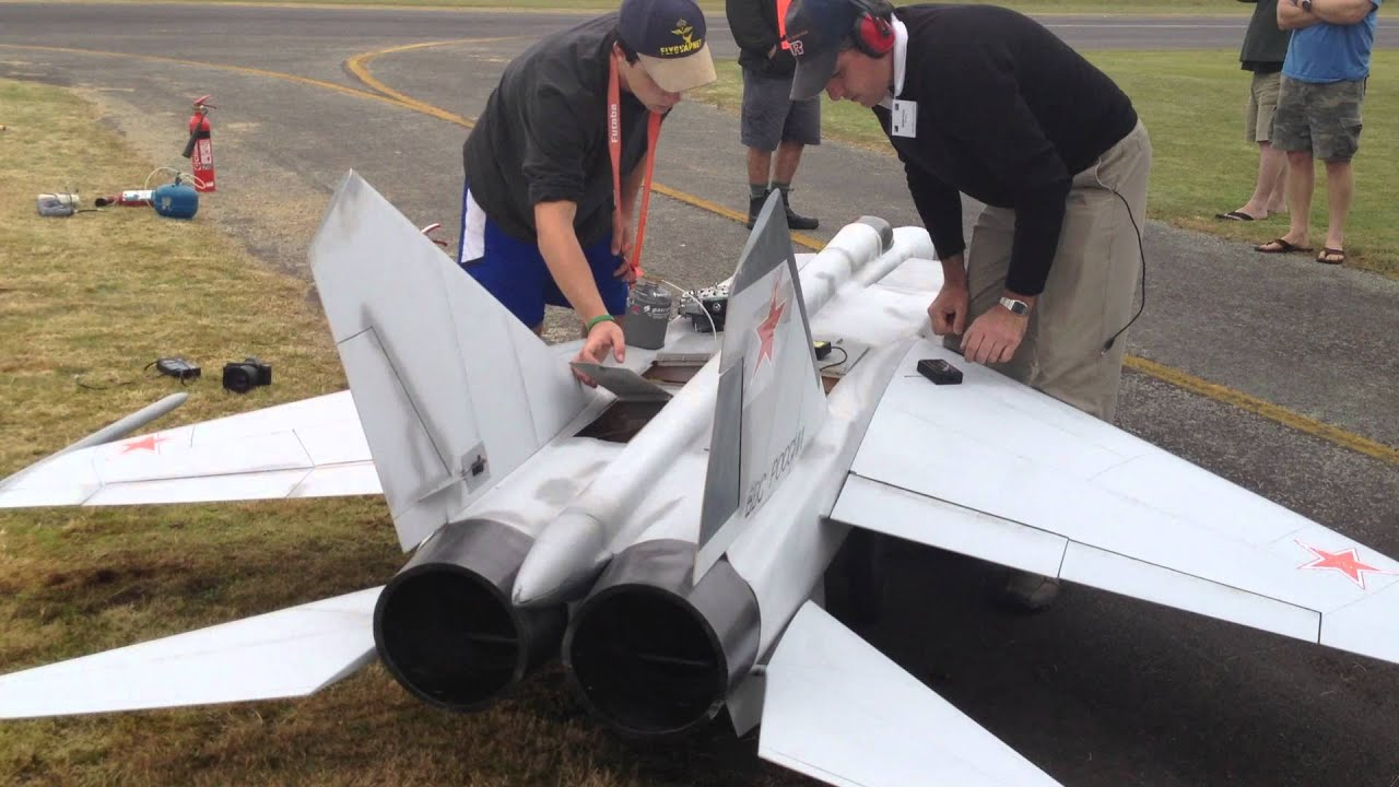 Worlds Largest Mig 25 RC Scale Twin Turbine Jet Powered model airplane  Starting Up