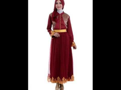 Model Baju Muslim Terbaru 2016 Warna Merah Terbaik Youtube