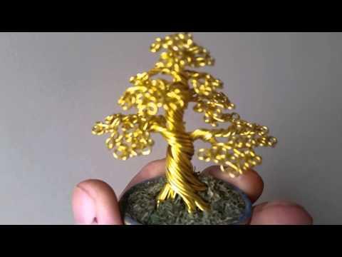 #109 Mini Golden Bonsai Tree Wire Sculpture