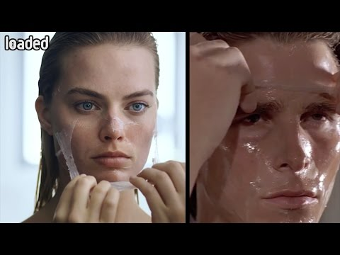 Margot Robbie/Christian Bale American Psycho shot-for-shot comparison