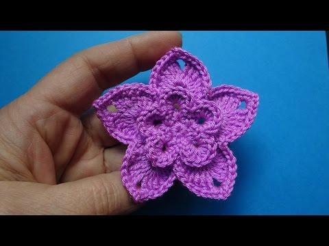 Вязание цветка крючком на шапку