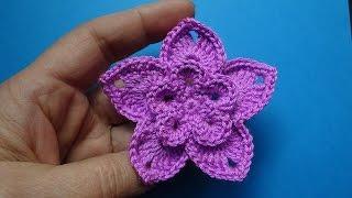 Вязаный цветок пятилистник Crochet flower 81