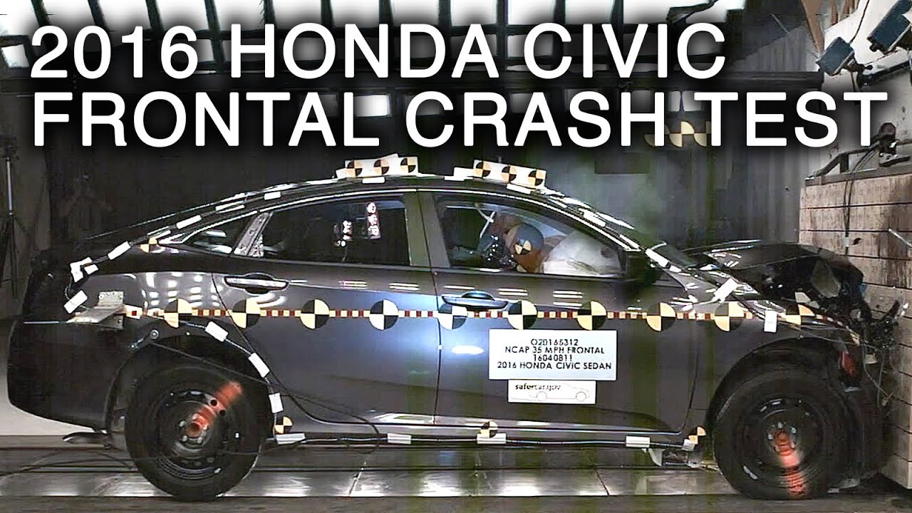 2016 honda civic crash test (frontal crash) - youtube