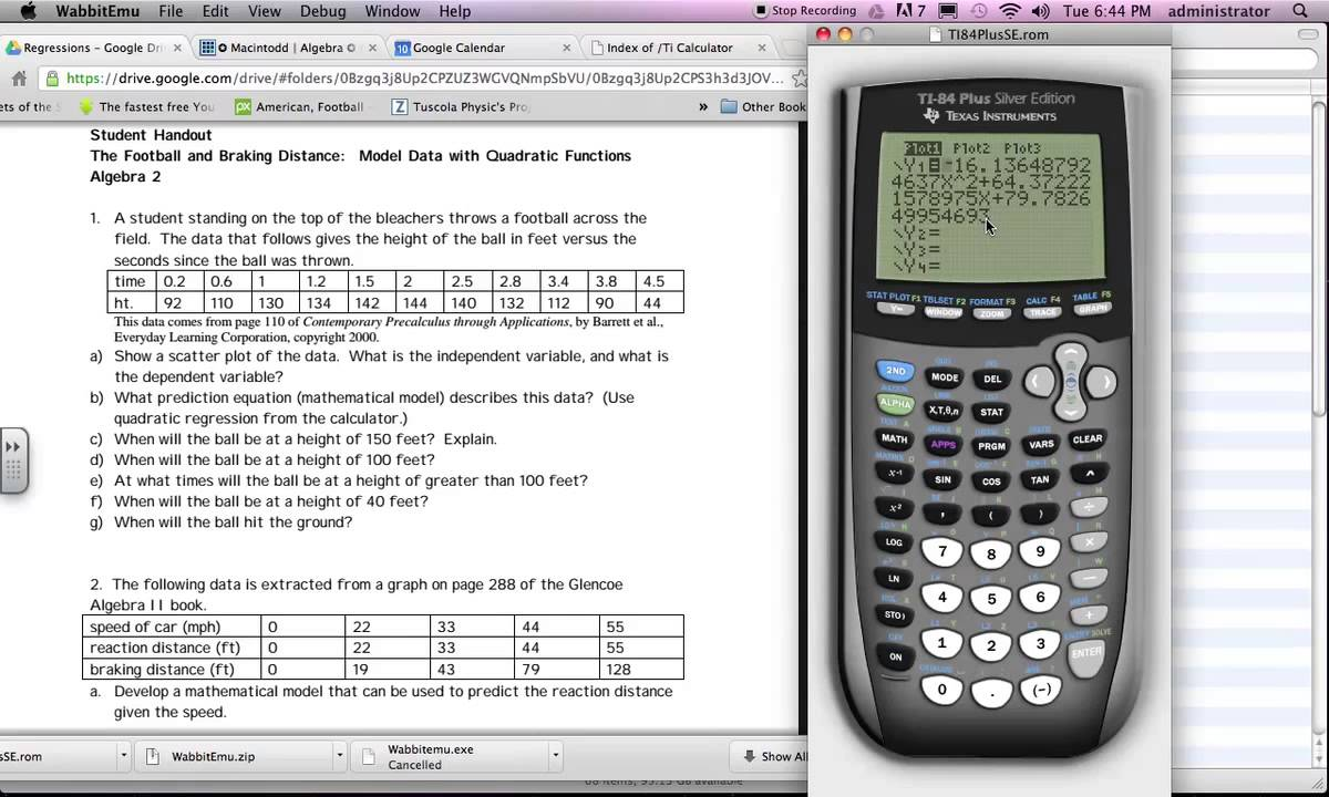 how to find quadratic regression