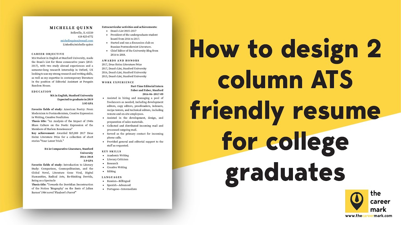 Ats Friendly Two Column Resume Template For Students College Graduates Free Download Youtube