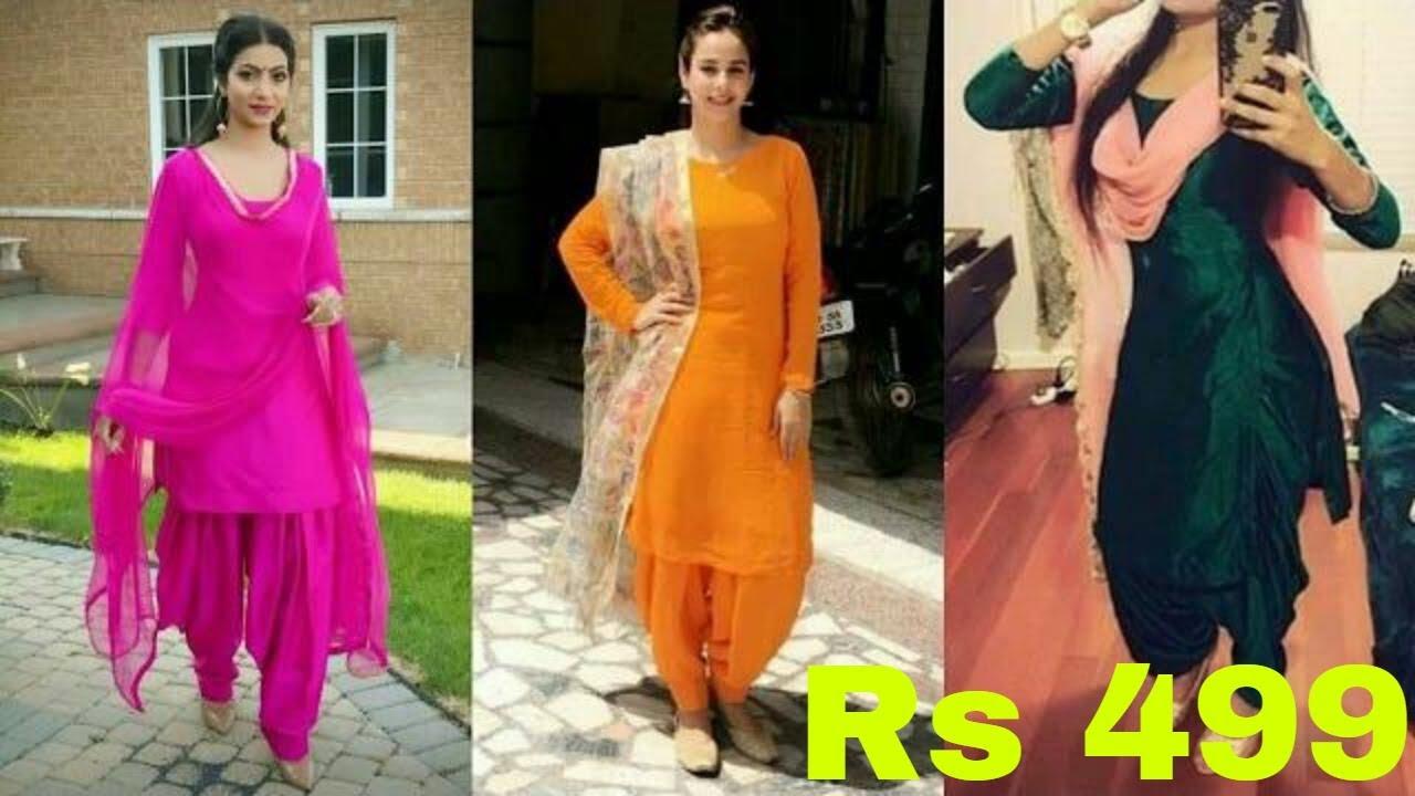 9c184b77f Plain Salwar Suit Under 499 | Punjabi Suit Buy Online | Punjabi Salwar Suit  Dress 2019 | T.F.