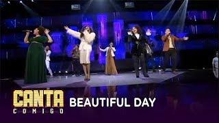 Participantes se unem para cantar Beautiful Day na final do Canta Comigo