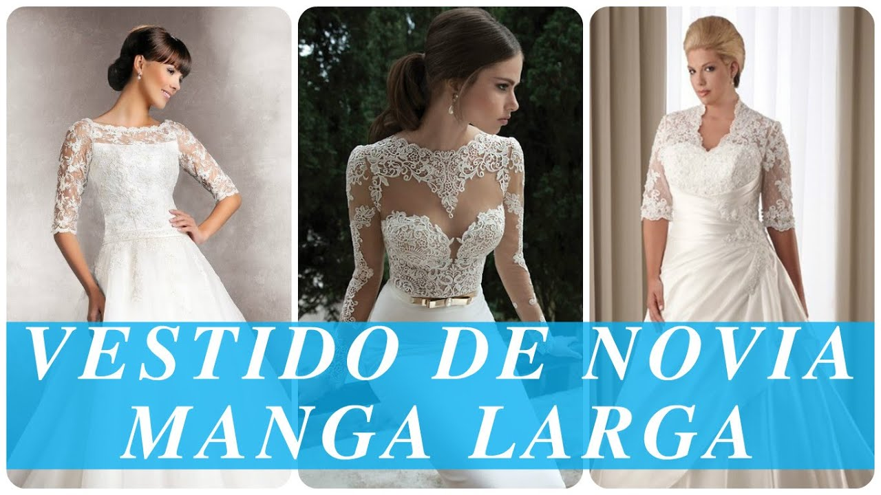 Vestido de novia manga larga - YouTube