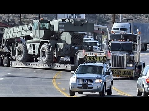 OVERSIZE LOAD ~ HAULING CRANE ~ MACHINERY TRANSPORT TRUCK