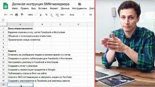 ДОЛЖНОСТНАЯ ИНСТРУКЦИЯ SMM-МЕНЕДЖЕРА | Пример | Как описать должность в Google таблицах? Видеоурок