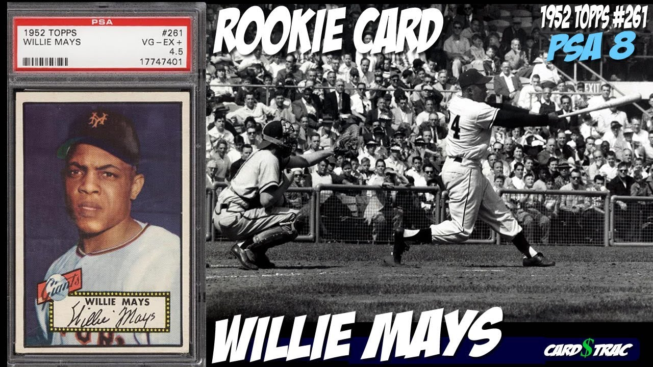 1952 Willie Mays Rookie Card Topps 61 Rookie Card Psa 8
