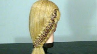 "Прическа  с плетением: Коса ""Шахматка"". Checkerboard  Braid Hairstyle"