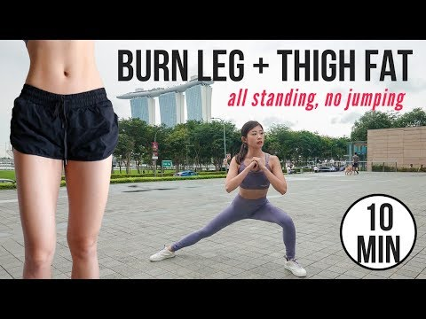 Best 10 min SLIM LEG + THIGH Standing Workout with No Jumping ~ Emi