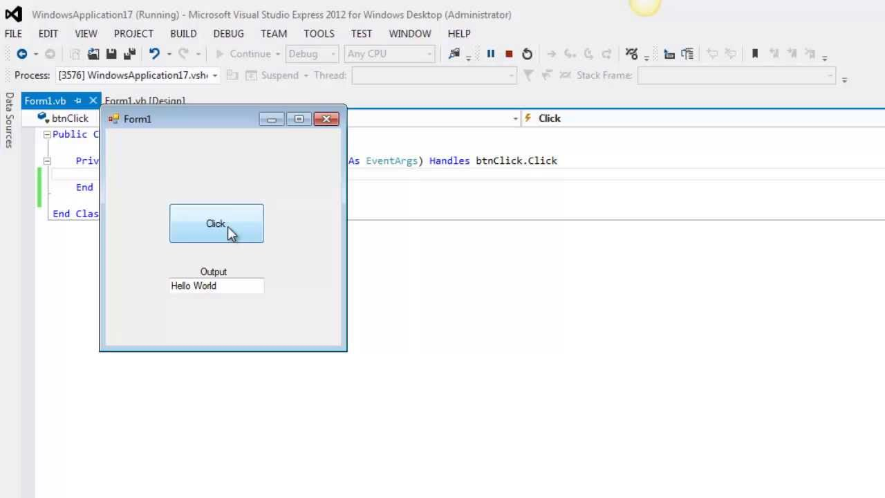 Hello World! - Create a Basic Form - Visual Basic - VB.Net 2013 ...
