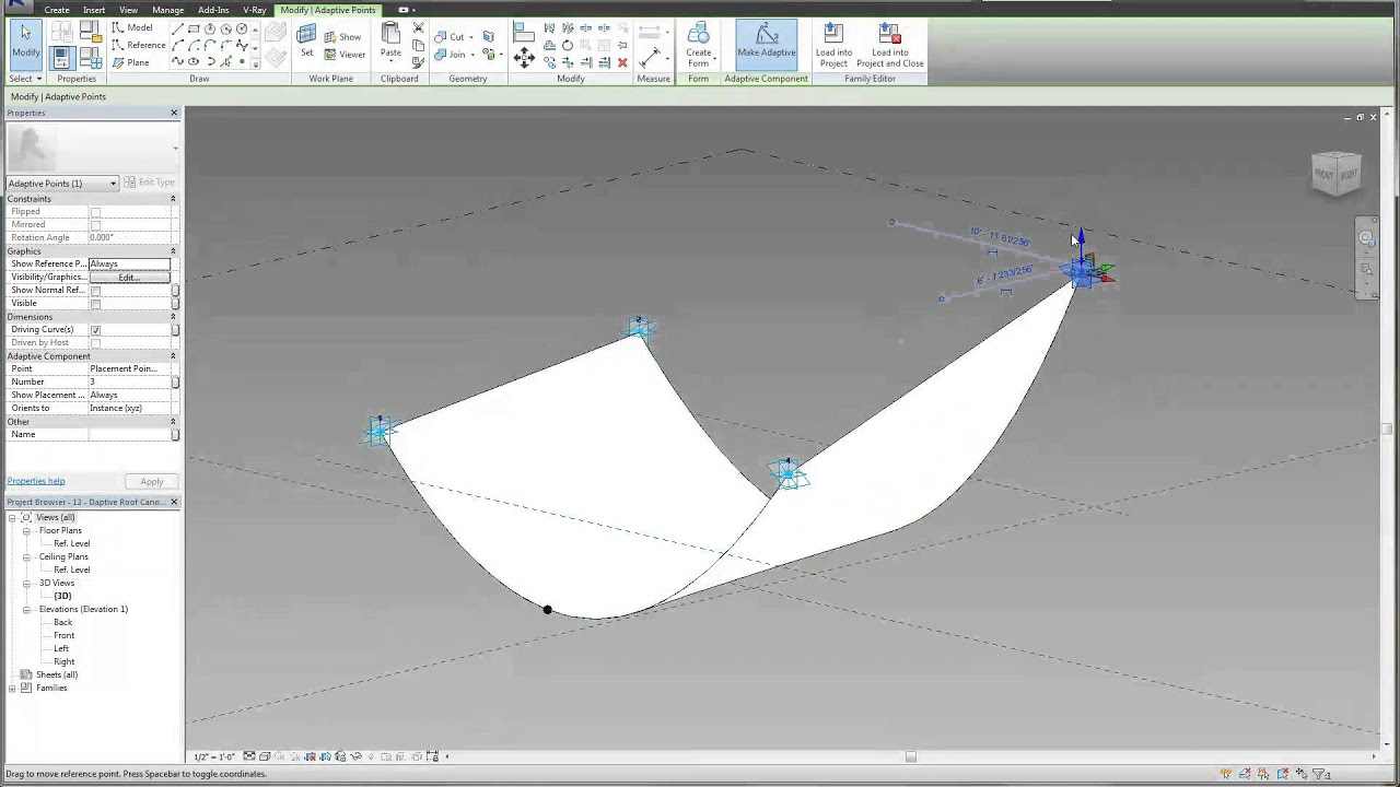 sc 1 st  YouTube & Revit Tutorial Adaptive Fabric Roof Canopy Introduction - YouTube