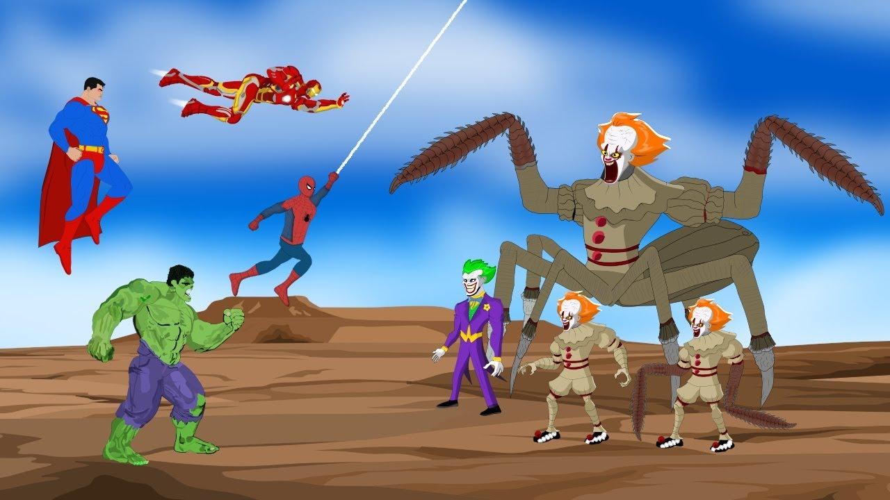 Team Hulk: Spiderman-Iroman-Superman VS EVOLUTION OF JOKER [HD] | SUPER HEROES MOVIE ANIMATION