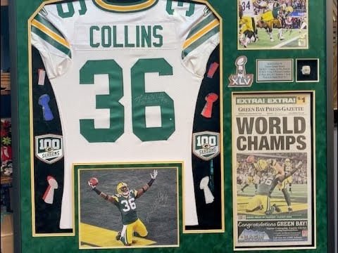 Jersey Framing a Nick Collins Green Bay Packers Superbowl game-worn Jersey with the Works
