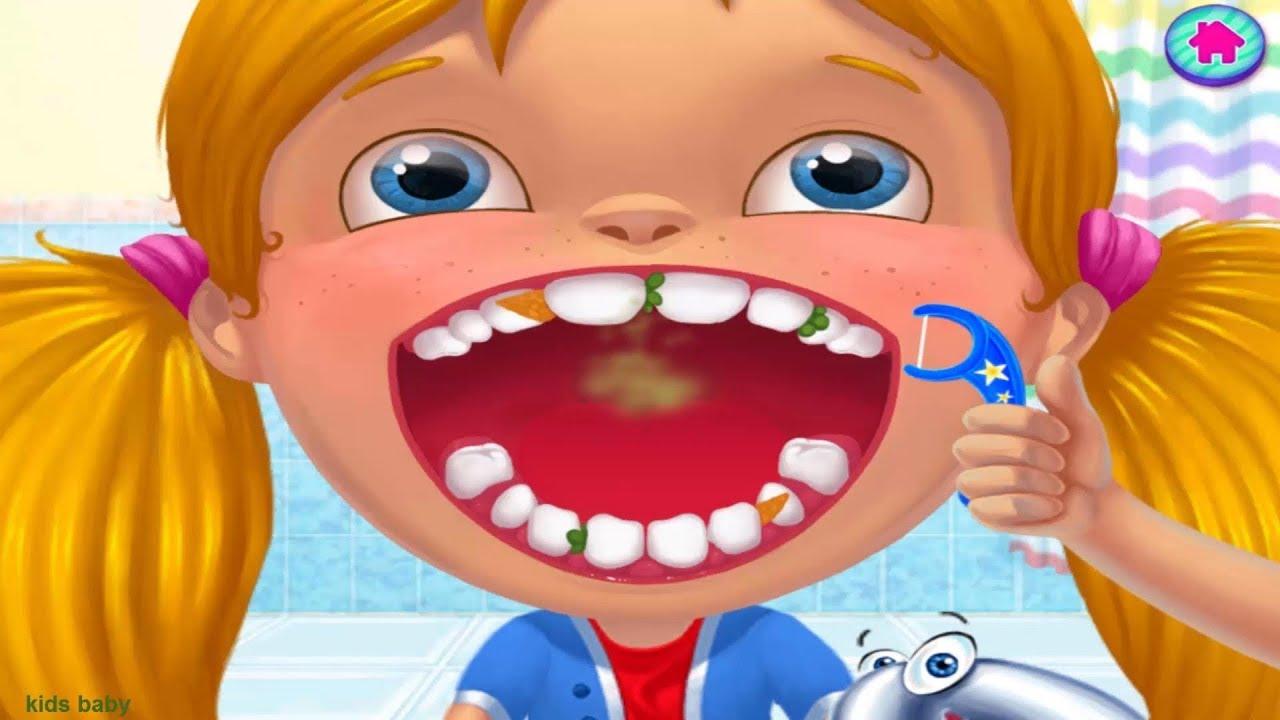 لعبة دكتور الاسنان وعلاج اسنان الاطفال فى عيادة طبيب