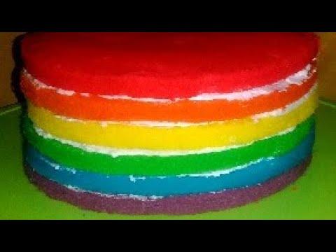 Rainbow Cake Kukus Lembut - YouTube