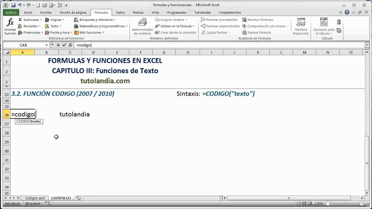 3.2 Función Código: Fórmulas y Funciones en Excel - YouTube