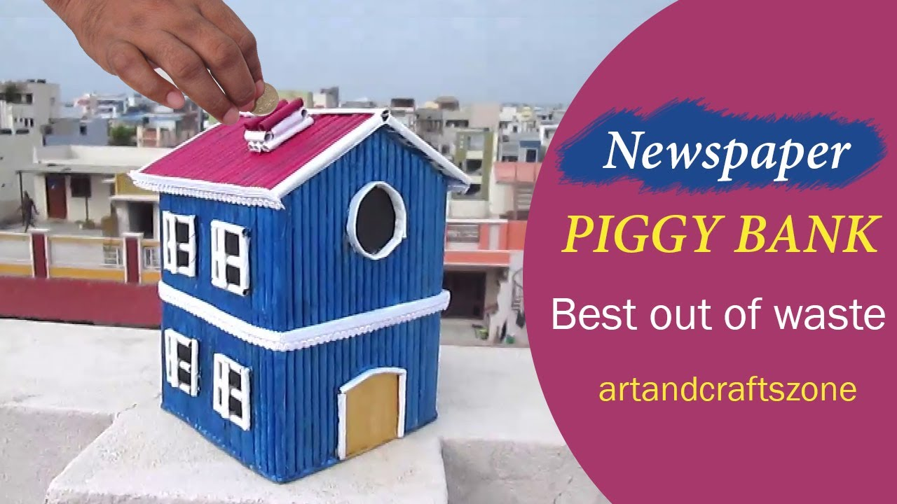 Newspaper Piggy Bank Diy Best Out Of Waste Newspaper Craft For