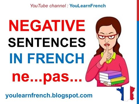 French Lesson 46 - NEGATIVE SENTENCES in French Ne Pas Ne plus - Phrases négatives LA NÉGATION