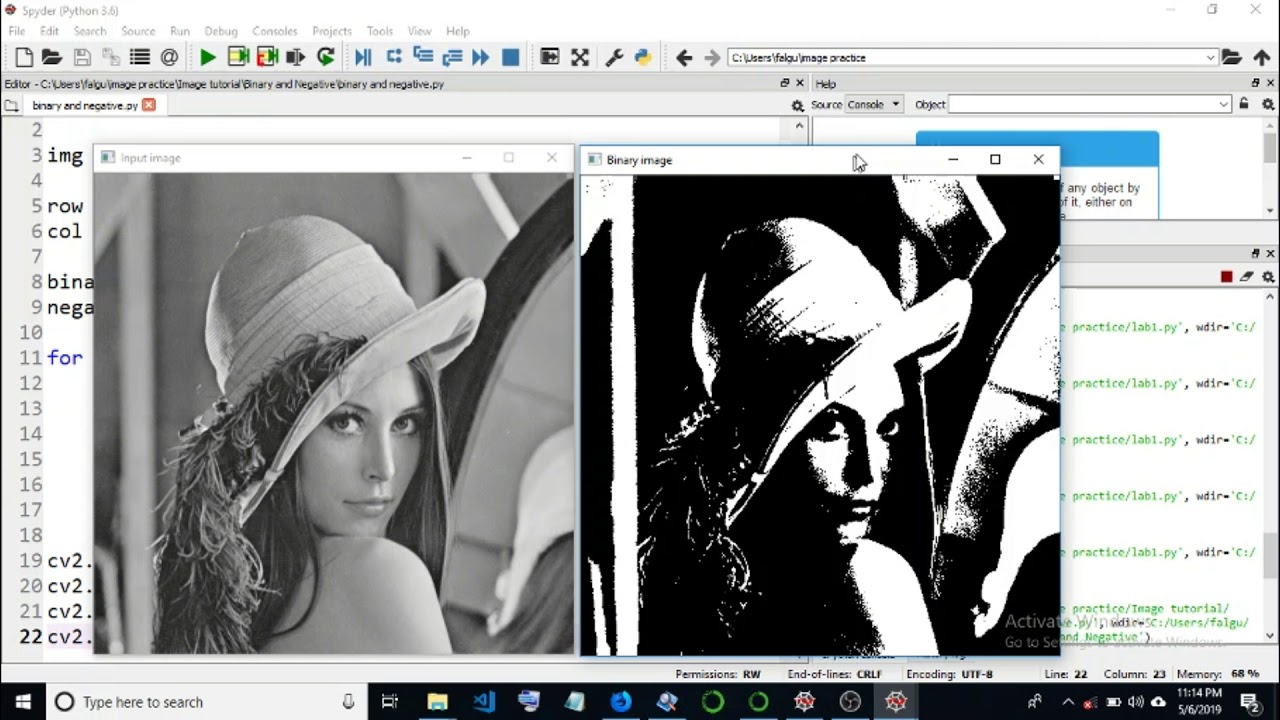 4  Converting grayscale image to binary and negative image in OpenCV and  python