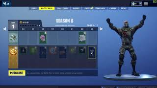 Fortnite Season 8 Battlepass All items, All Levels Free and Paid Path