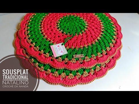 Sousplat tradicional em crochê Natalino