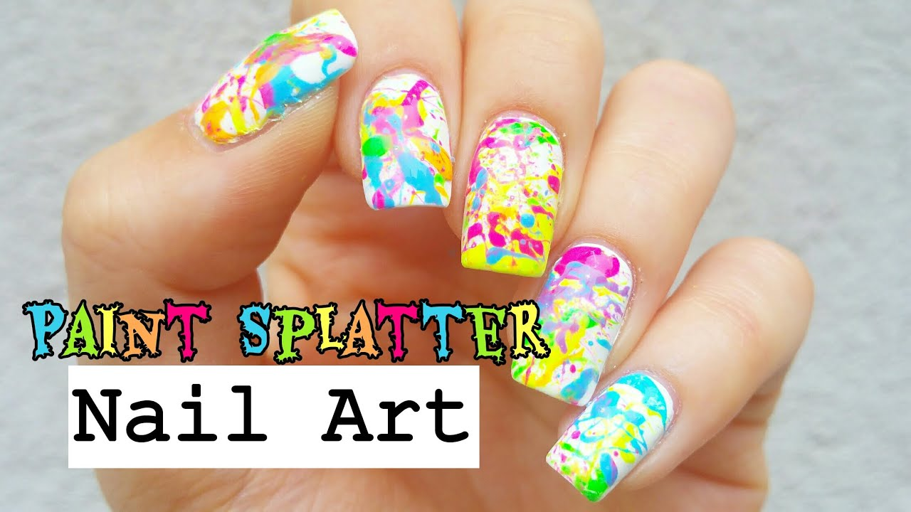 Paint splatter nail art youtube paint splatter nail art prinsesfo Image collections