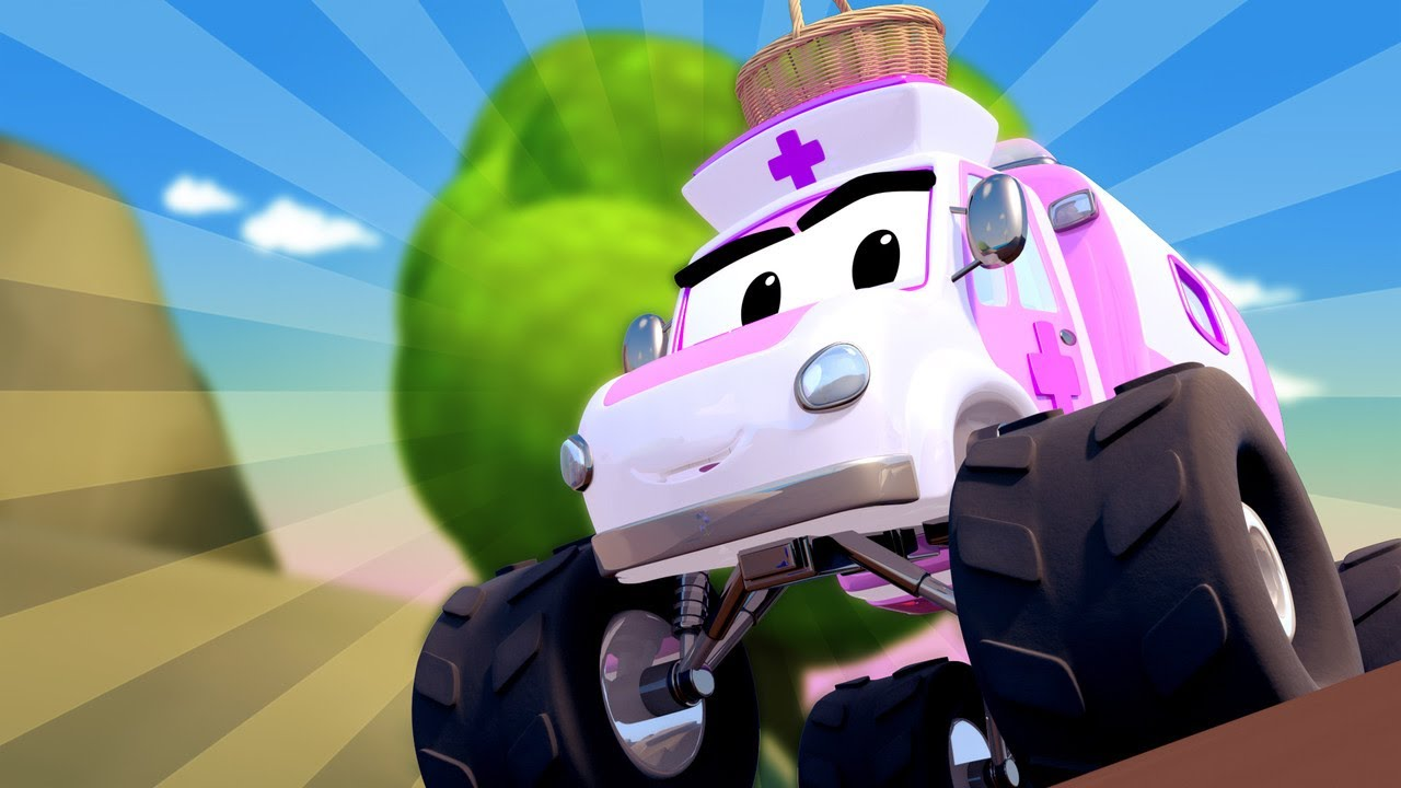 Monster Město -  Monster sanitka Miranda chce rozveselit Miu! | Monster truck animáky