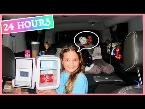 "24 HOUR CHALLENGE "" OVERNIGHT IN MY MOM'S CAR "" 