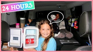 "24 HOUR CHALLENGE "" OVERNIGHT IN MY MOM\'S CAR \"" 