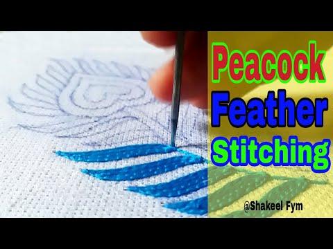 Hand Embroidery Peacock feather | design | Hand work | Aari work