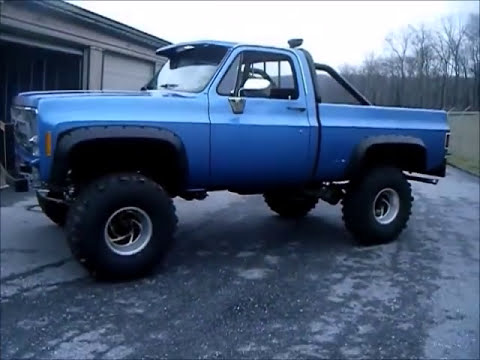 "1977 Lifted Chevy Sitting on 38"" super swampers - YouTube"