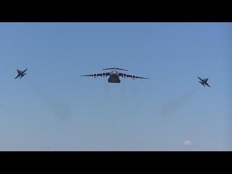 RAAF C-17 Globemaster & F/A-18 Flypast over Canberra
