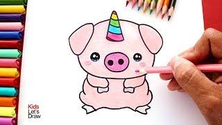 Cómo dibujar un Cerdito Unicornio (Cerdicorn) | How to draw a Unicorn Pig