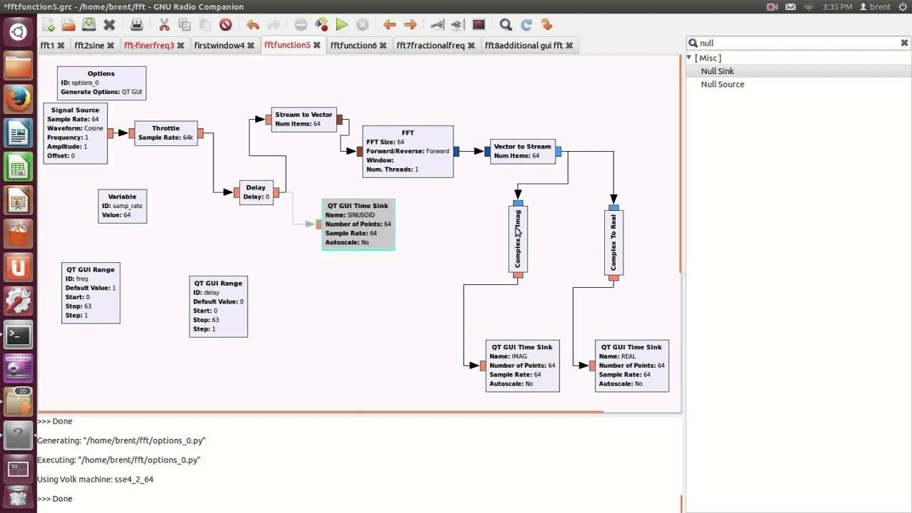 FFT tutorial in gnuradio