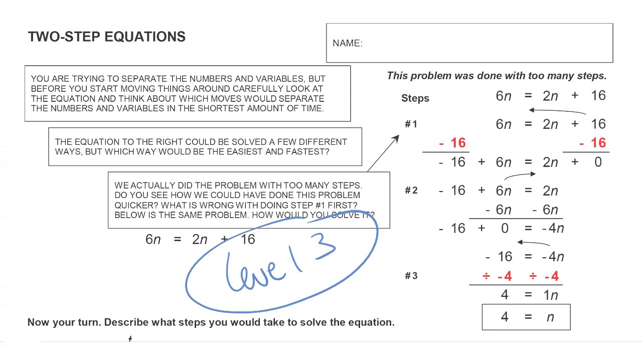 help video for solving two step equations worksheet level 3 - Solving 2 Step Equations Worksheet