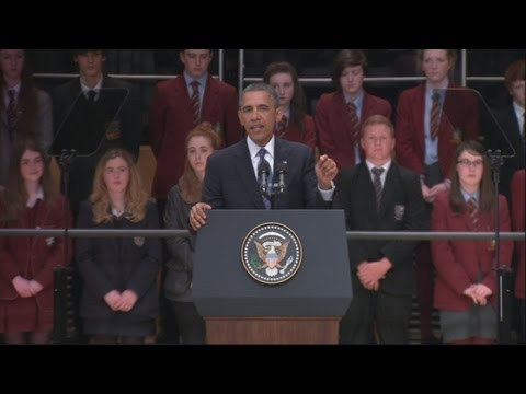 President Obama addresses students at Waterfront Hall in Belfast