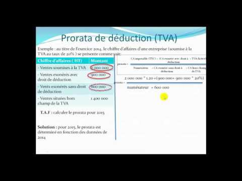 fiscalité   prorata de déduction de  TVA darija