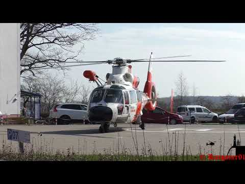 [HD] NHC 02 , Offshore Rescue Helicopter landing at Hospital Stralsund