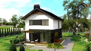 видео Проект каркасного двухэтажного дома c гаражом общей площадью 137.20 м2