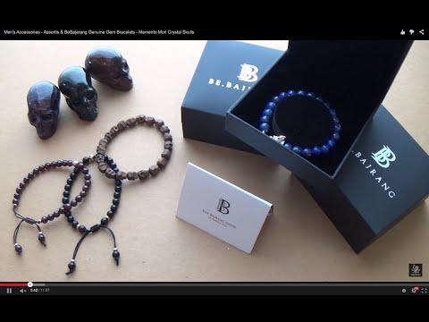 Gent's Accessories - Assortis & BeBajarang Genuine Gem Bead Bracelets - Memento Mori Crystal Skulls